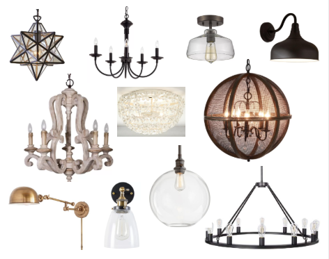 modern farmhouse lighting moodboard